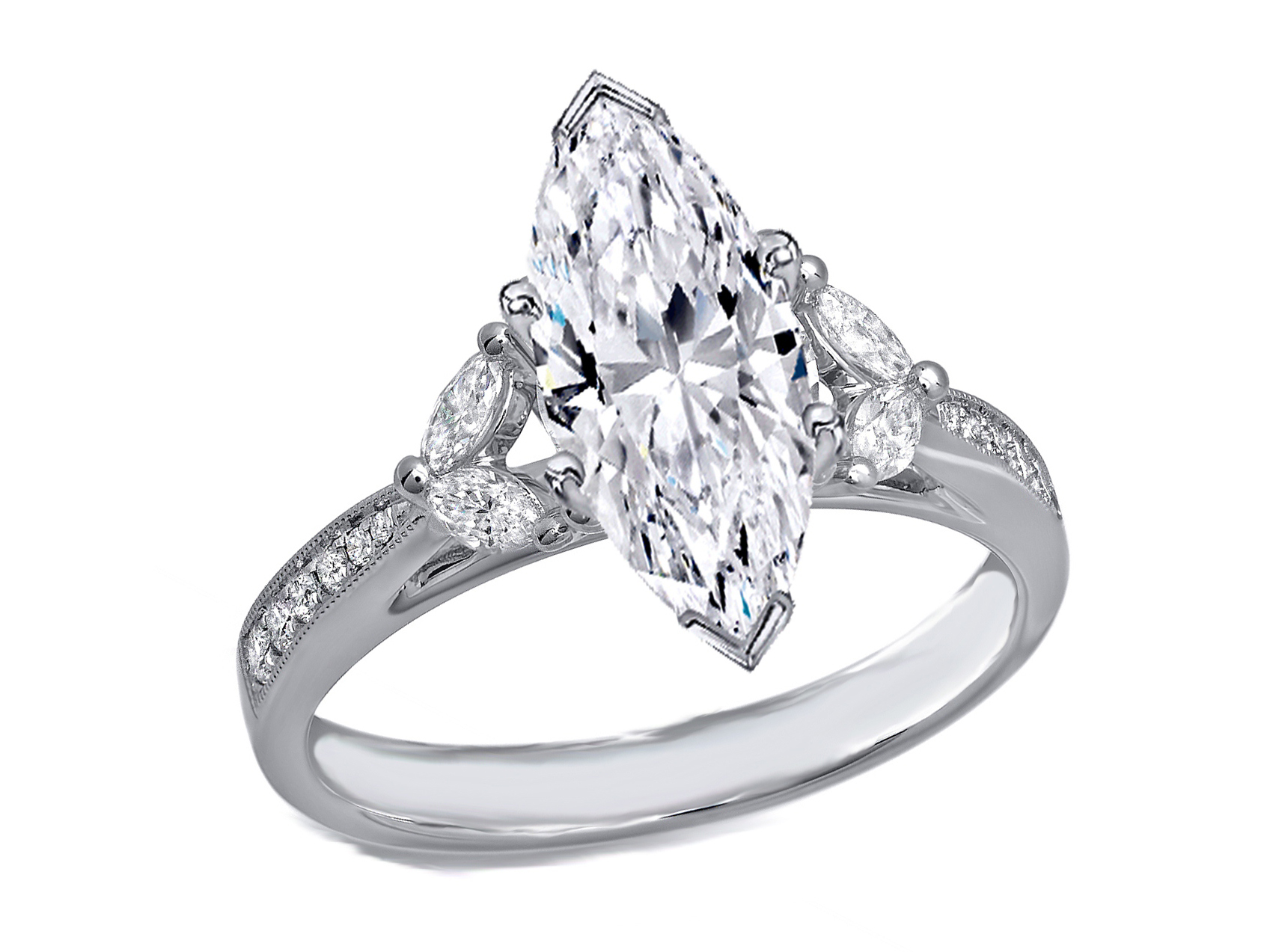 Engagement Ring Marquise Diamond Cathedral Engagement