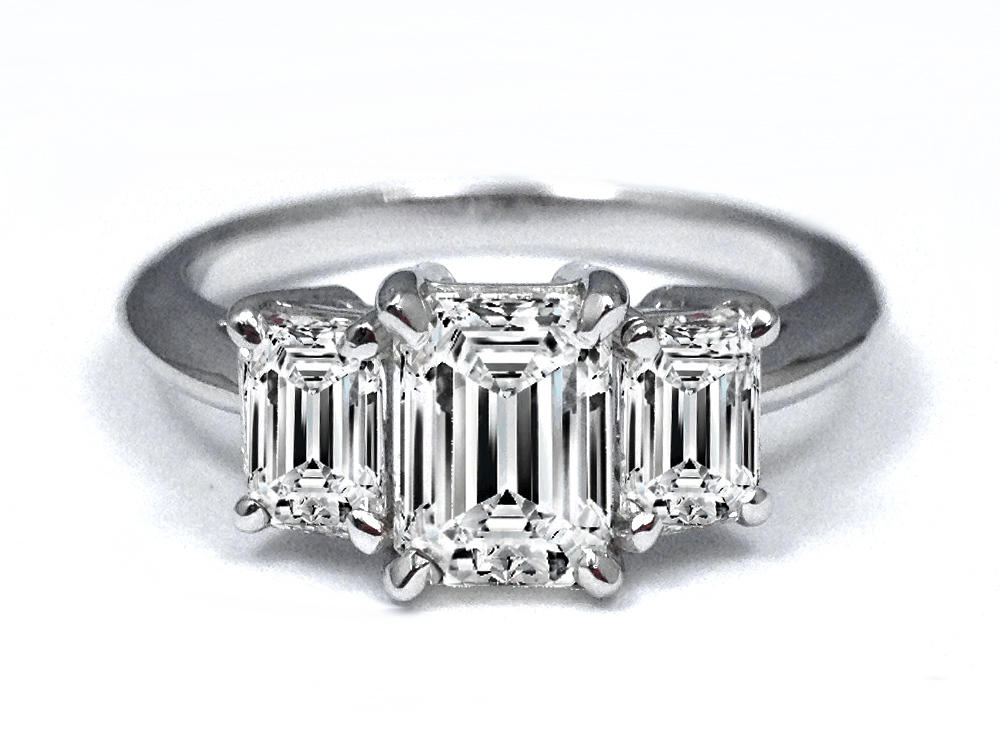 3 Stone Emerald Cut Diamond Engagement Ring Approx. 1.00 tcw. In 14K White Gold