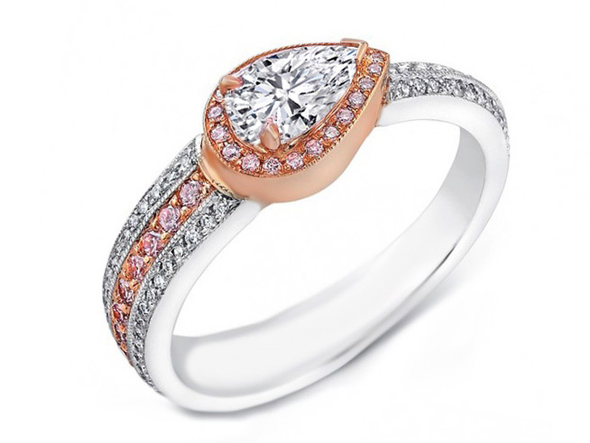 Pear Shape Diamond Pink Diamonds Halo Engagement Ring