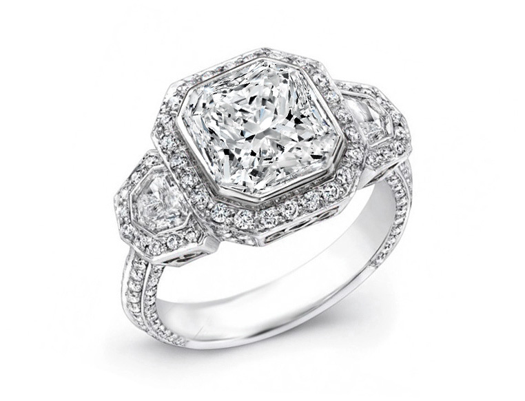 Large Radiant Cut Diamond Shield Halo Engagement Ring in Platinum