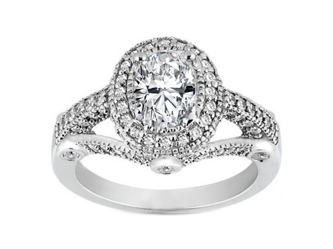 Oval Diamond Legacy Style Engagement Ring 0.57 tcw. In 14K White Gold