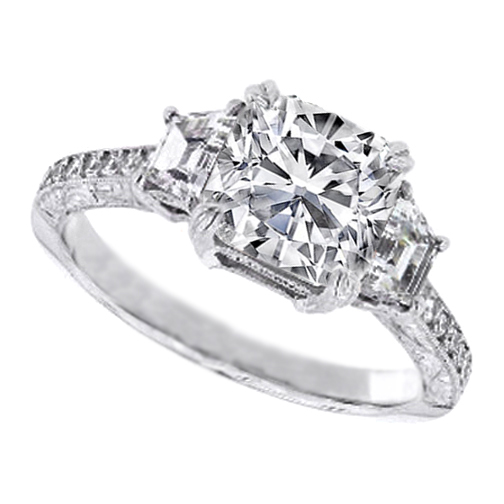 Three Stone Cushion Diamond Engagement Ring with Trapezoids 0.96 tcw.