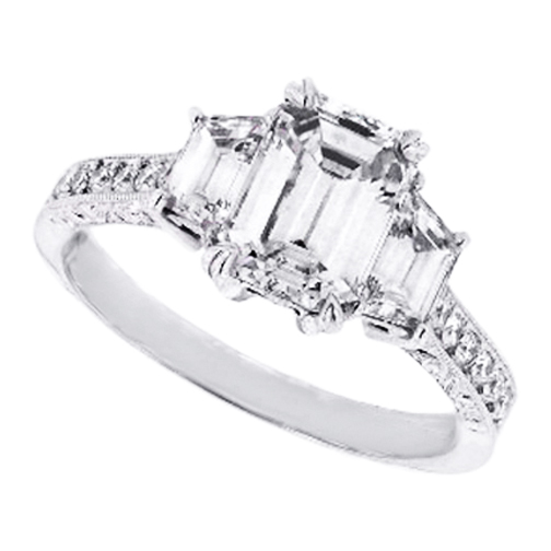 Three Stone Emerald Cut Diamond Engagement Ring with Trapezoids 0.96 tcw.