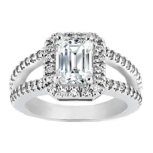 Pave Set Split Band Emerald Cut Diamond Engagement Ring in 14K White Gold 0.66 tcw.