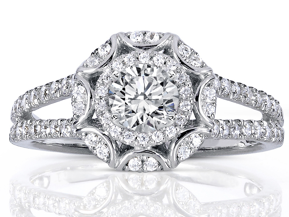 Victorian Halo Double Band Diamond Engagement Ring 0.96 tcw in 14K White Gold