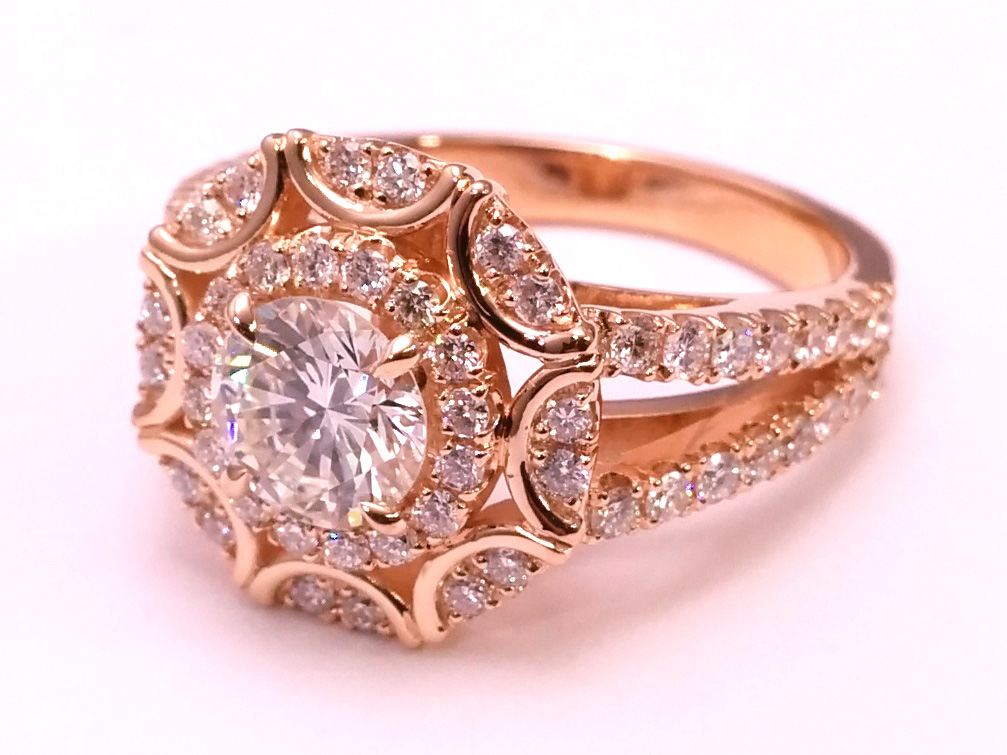 Victorian Halo Double Band Diamond Engagement Ring 0.96 tcw in 14K Rose Gold