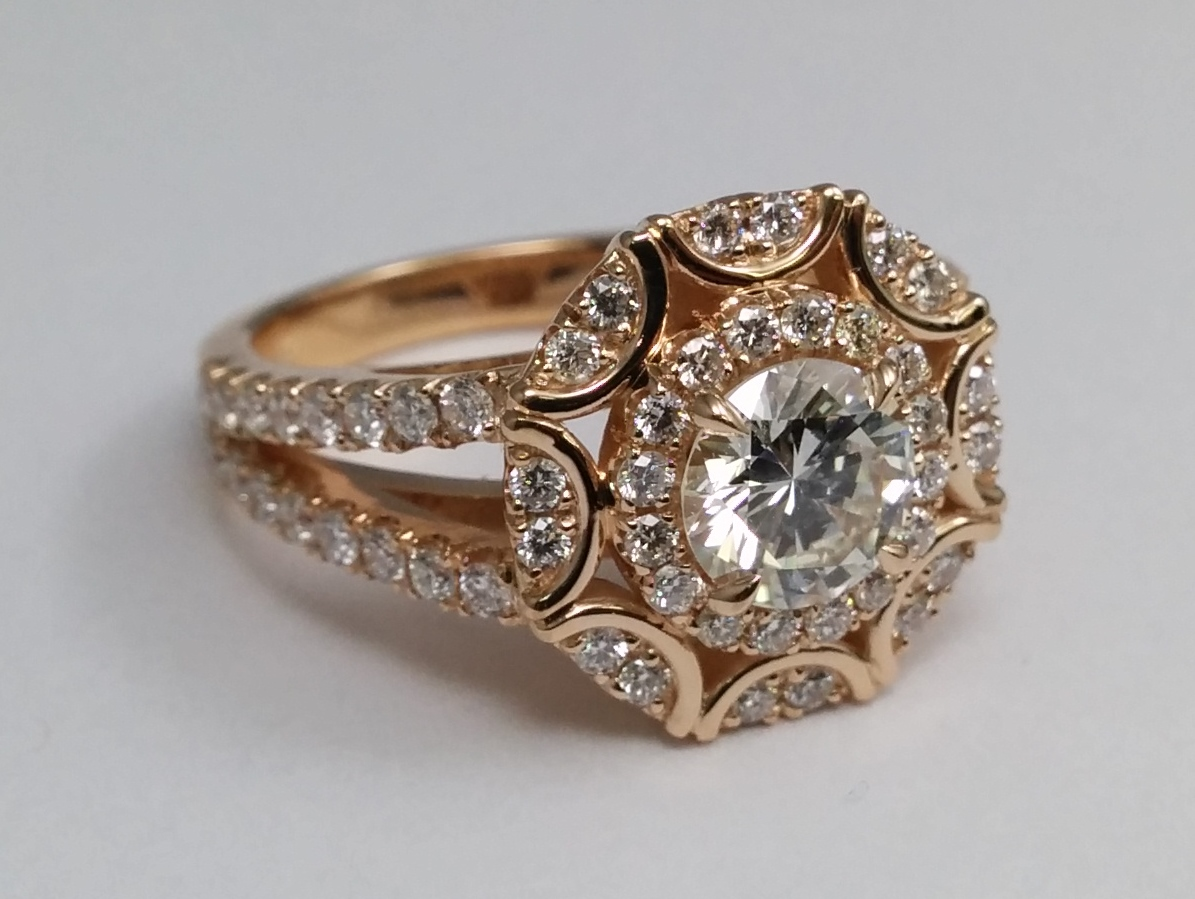 Victorian Halo Double Band Diamond Engagement Ring 0.96 tcw in 14K Yellow Gold