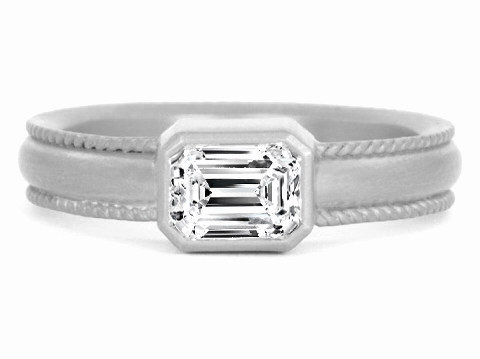 Duo Rope Emerald Cut Diamond Bezel Engagement Ring in 14 Karat White Gold