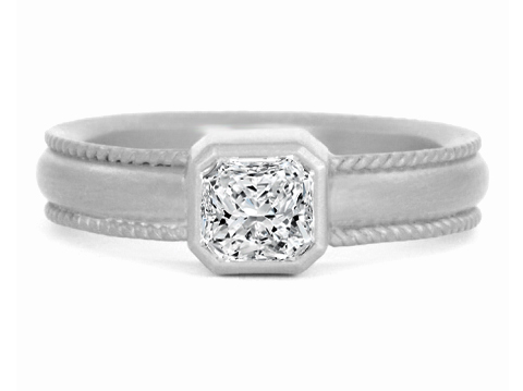 Duo Rope Radiant Cut Diamond Bezel Engagement Ring in 14 Karat White Gold