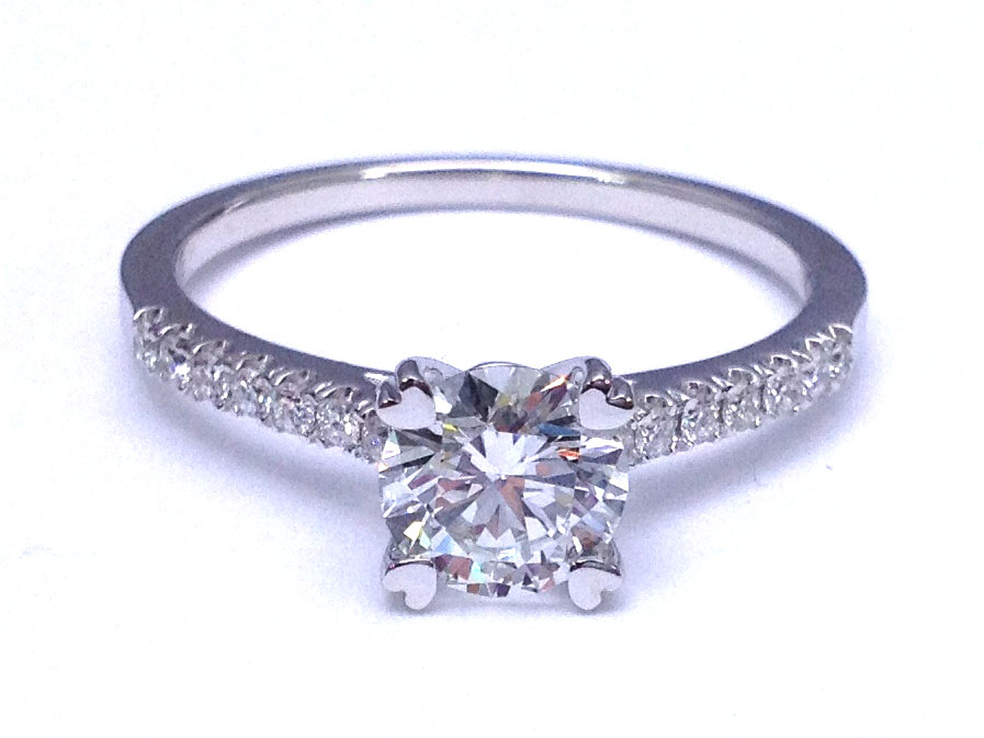 Petite Double Prong Round Diamond Pave Cathedral Engagement Ring