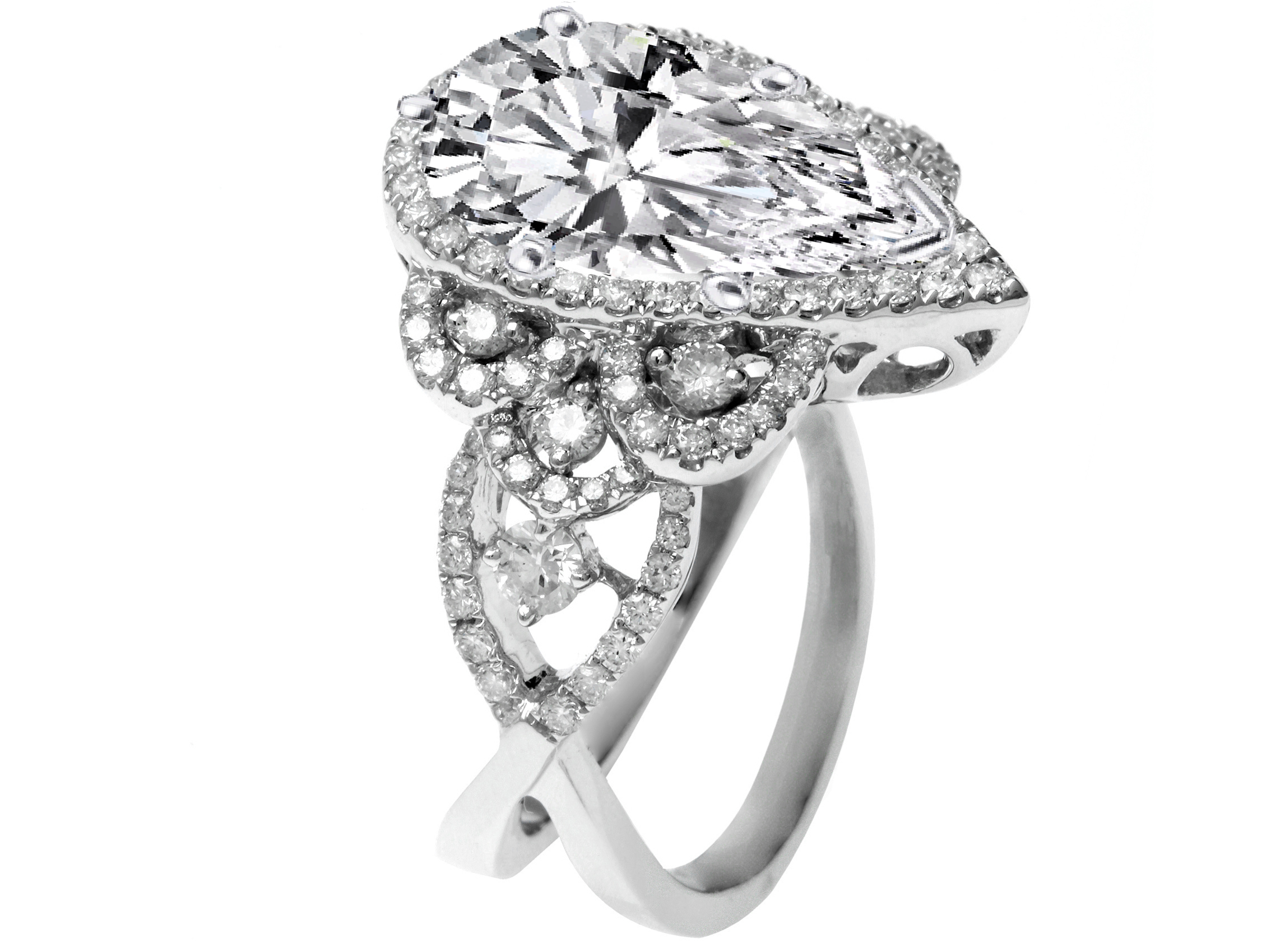 engagement ring pear shaped diamond halo engagement ring