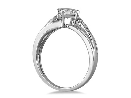 Radiant Diamond Swirl Engagement Ring in 14K White Gold