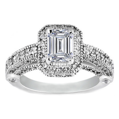 Emerald Cut Diamond Legacy Style Engagement Ring in 14K White Gold 1.05 tcw.