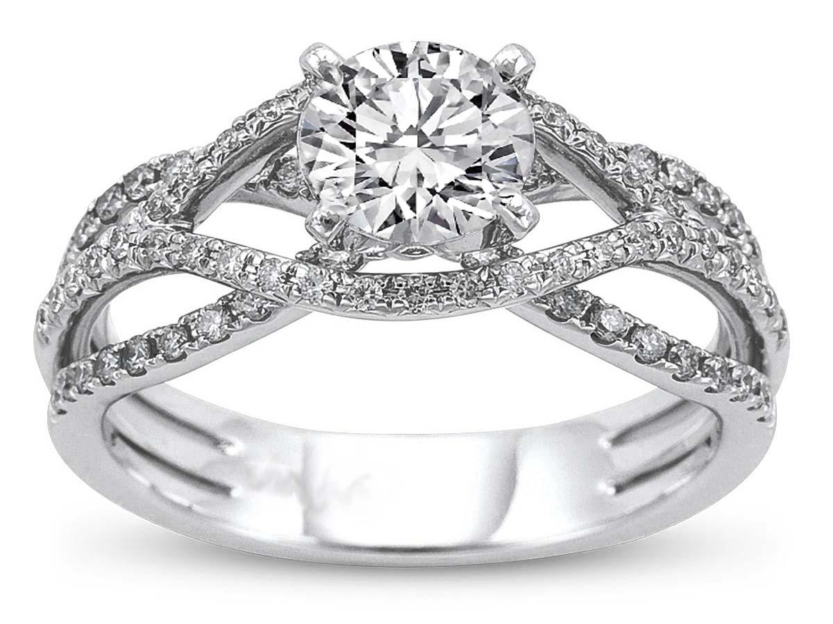 Swirled Trio Band Diamond Engagement Ring In 14k White Gold