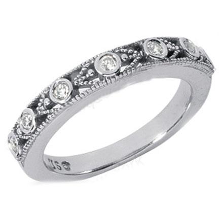 Seven Stone Round Diamond Wedding Band 014 tcw In 14K White Gold 59900