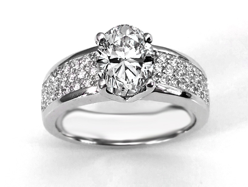 Wide Pave Band Oval Diamond Engagement Ring in 14K White Gold