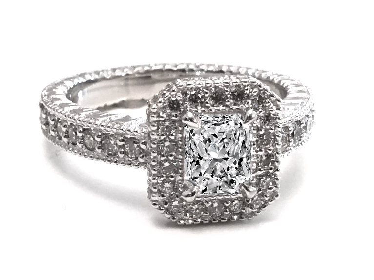Radiant Diamond Vintage Halo Three Sided Band Engagement Ring & Wedding Band Bridal Set