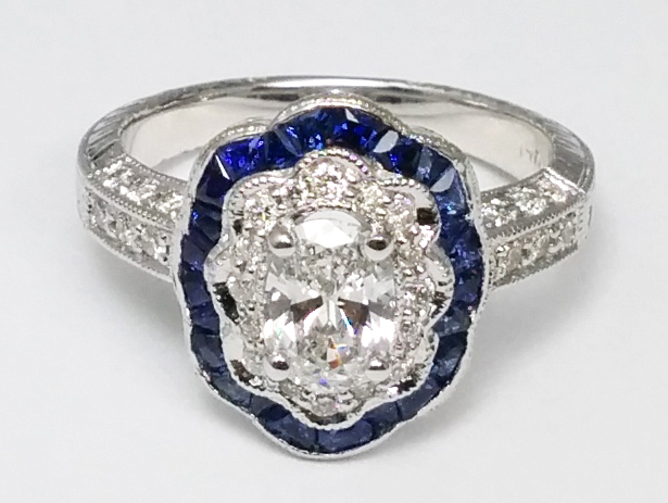 Oval Diamond Blue Halo Vintage Engagement Ring in 14K White Gold