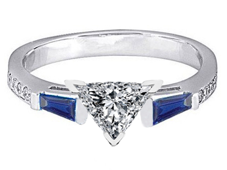 Trillion Engagement Ring Blue Sapphire & Diamonds accents 0.44 tcw. In 14K White Gold