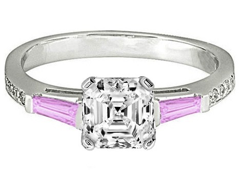 Asscher Engagement Ring Pink Sapphire & Diamonds accents 0.44 tcw. In 14K White Gold