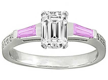 Emerald Engagement Ring Pink Sapphire & Diamonds accents 0.44 tcw. In 14K White Gold