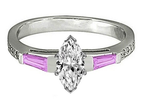 Marquise Engagement Ring Pink Sapphire & Diamonds accents 0.44 tcw. In 14K White Gold