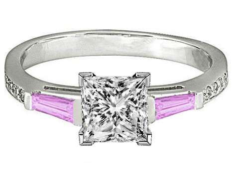 Princess Engagement Ring Pink Sapphire & Diamonds accents 0.44 tcw. In 14K White Gold