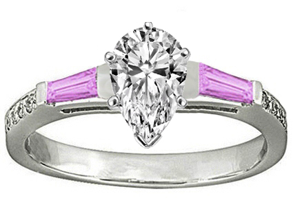 Pear Engagement Ring Pink Sapphire & Diamonds accents 0.44 tcw. In 14K White Gold