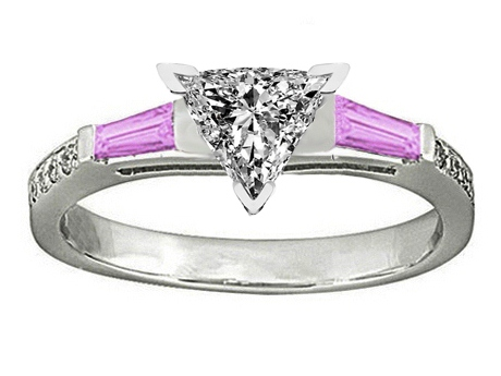 Trillion Engagement Ring Pink Sapphire & Diamonds accents 0.44 tcw. In 14K White Gold