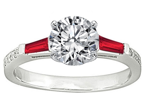 Red Ruby Baguettes and Round Diamonds Engagement Ring Setting 0.44 tcw