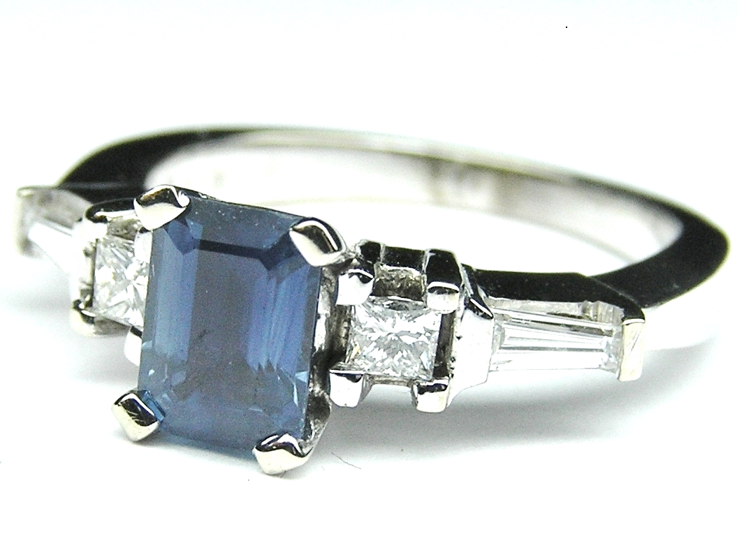 Emerald Cut Blue Sapphire and Diamond Engagement Ring 1.67 tcw.