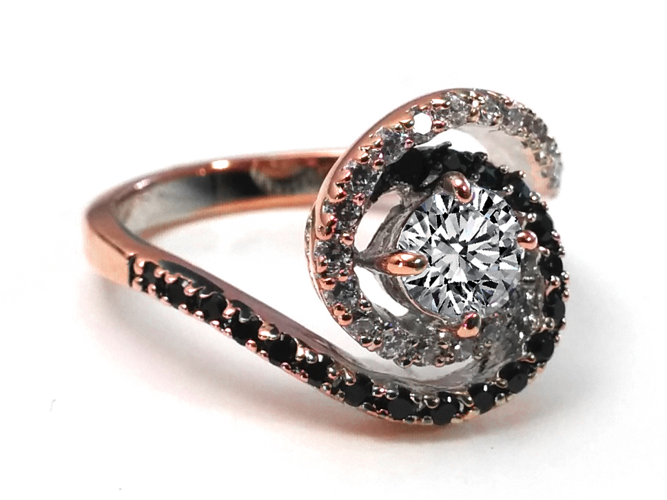 Swirl Double Halo Black & White Diamond Engagement Ring in 14 Karat Rose Gold