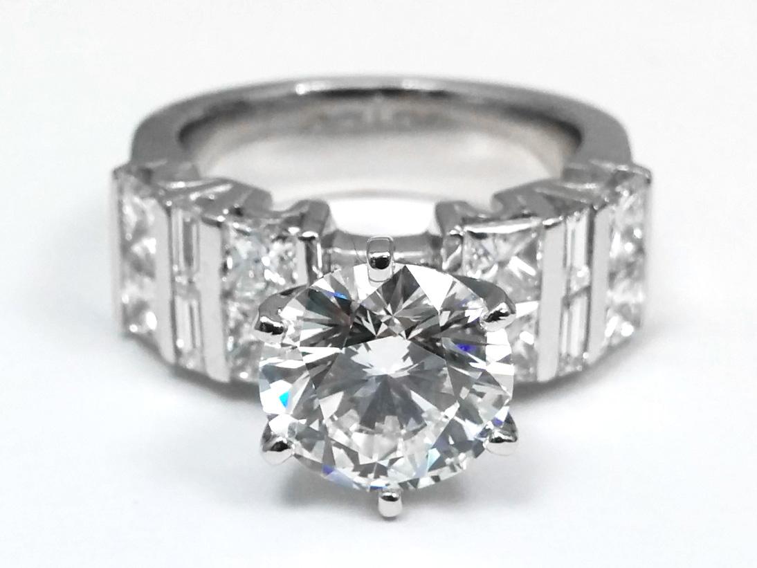 Large Diamond Engagement Ring Princess & Baguette Band
