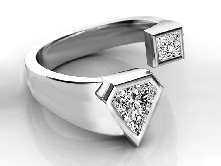 Modern Open Design Trillion Diamond Engagement Ring in 14K White Gold