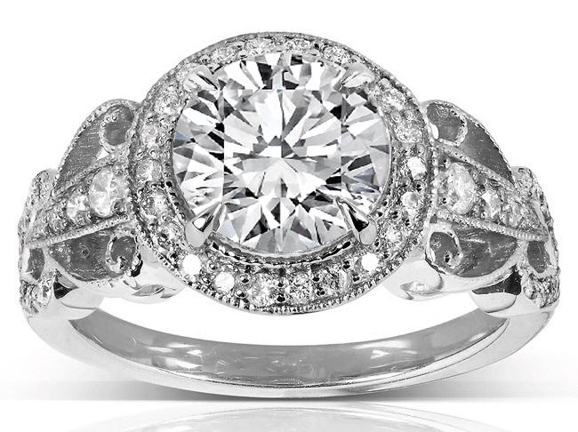 Diamond Halo filigree Engagement Ring in 14K White Gold