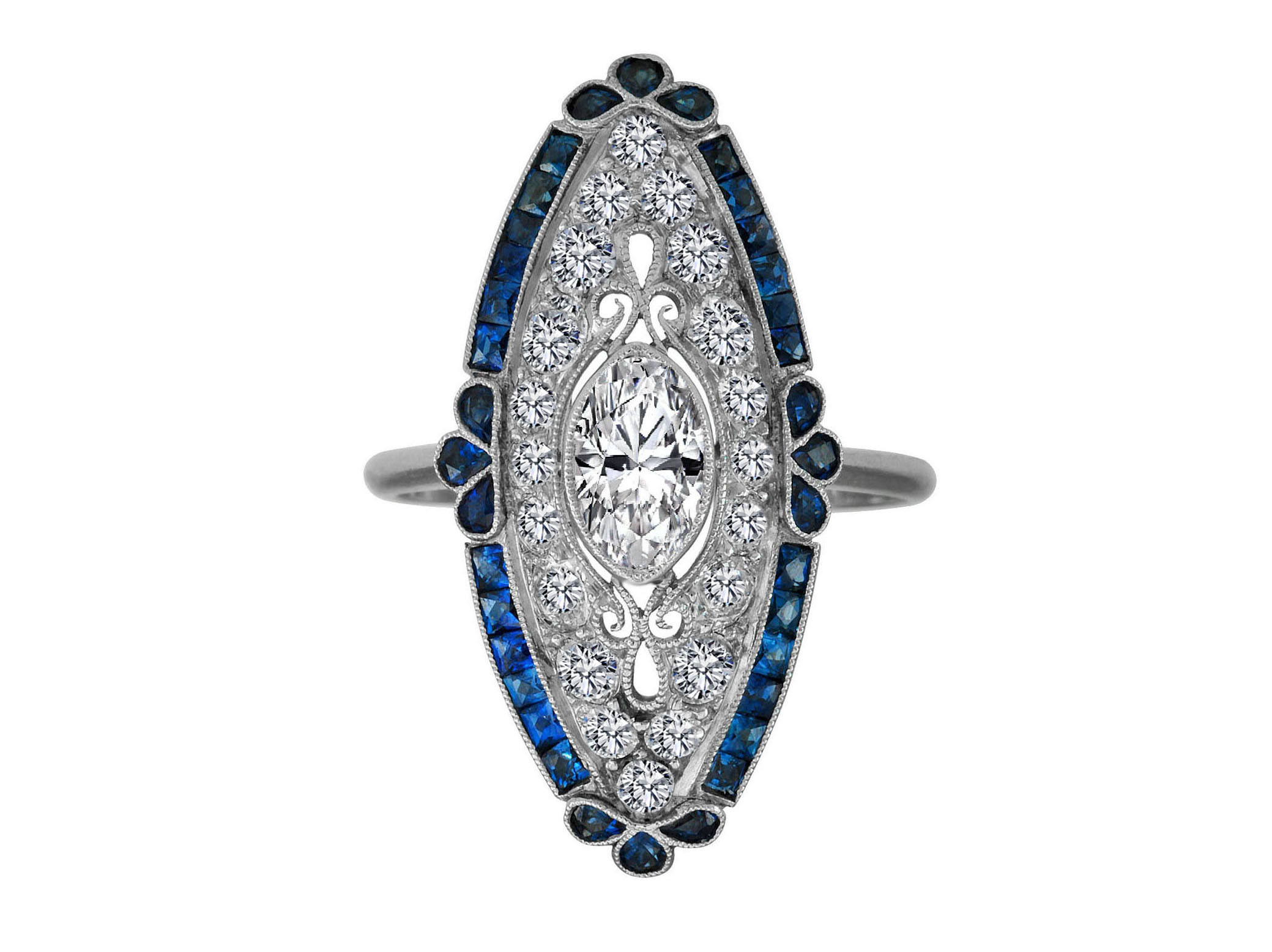Art Deco Oval Diamond Engagement Ring Blue Sapphire Halo