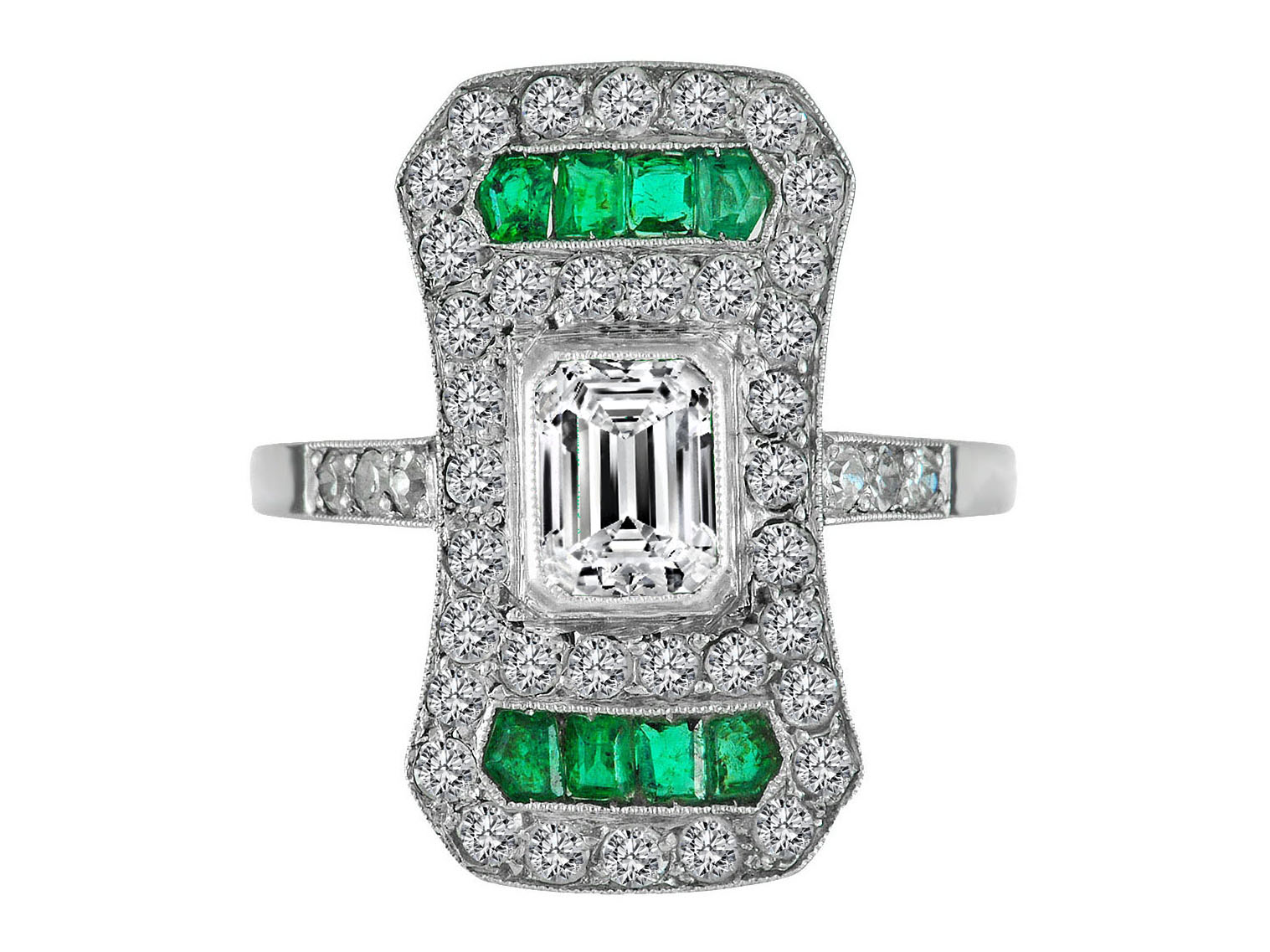 Emerald Cut Diamond Art Deco Engagement Ring