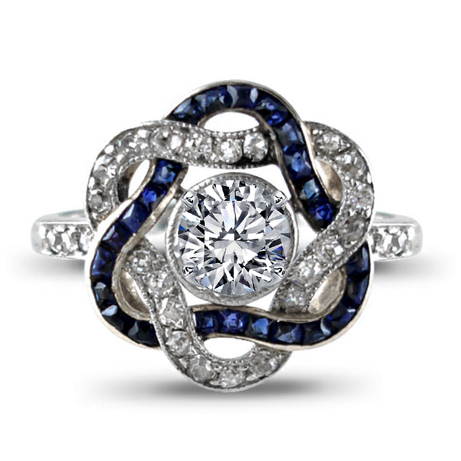 Art-Deco Entwined Ribbons Engagement Ring
