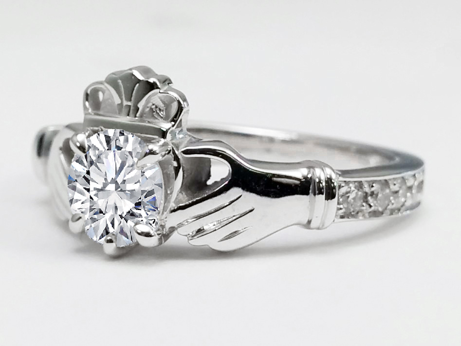 round diamond claddagh engagement ring in 14k white gold - Claddagh Wedding Rings