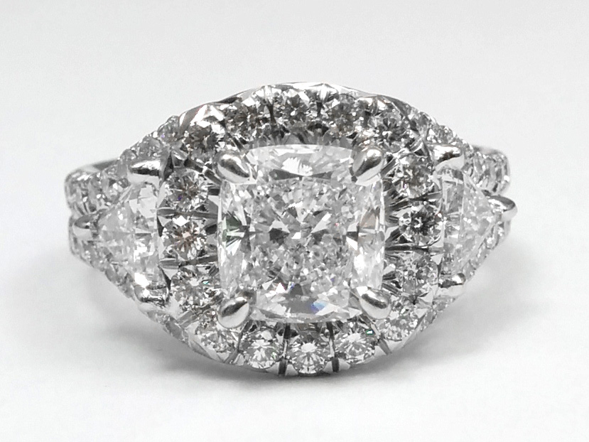 Cushion Diamond Halo Trillion Sidestones in 14K White Gold