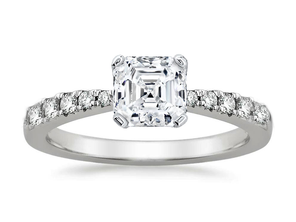 Freccia Asscher Diamond Engagement Ring 0.15 tcw in 14K White Gold