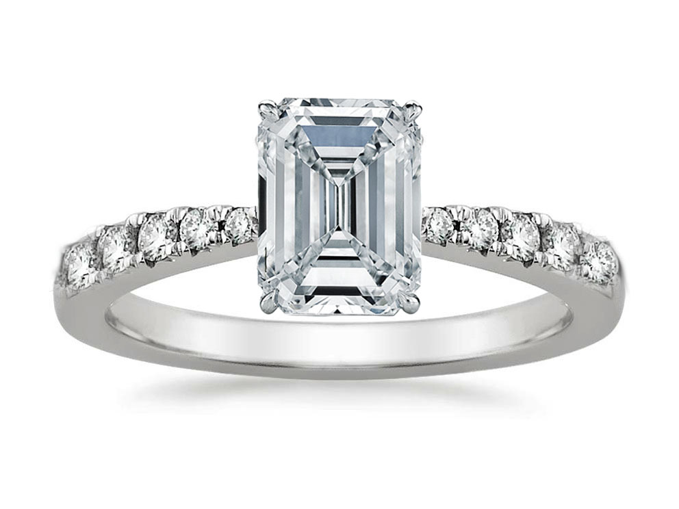 Freccia Emerald Cut Diamond Engagement Ring 0.15 tcw in 14K White Gold