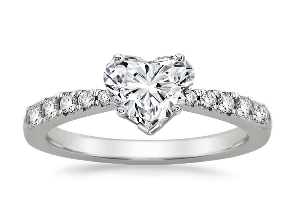 Freccia Heart Shaped Diamond Engagement Ring 0.15 tcw in 14K White Gold