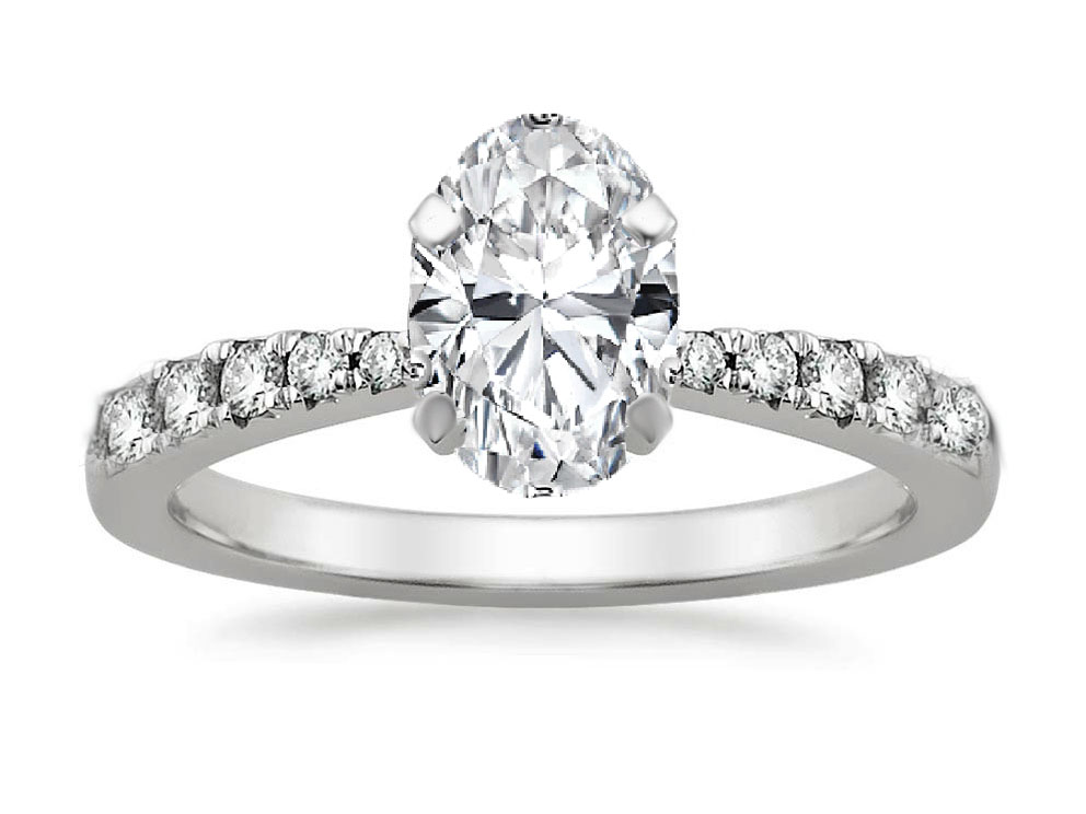 Freccia Oval Diamond Engagement Ring 0.15 tcw in 14K White Gold