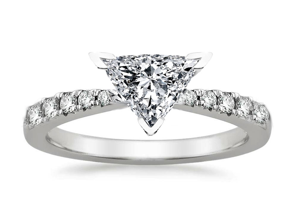 Freccia Trillion Diamond Engagement Ring 0.15 tcw in 14K White Gold