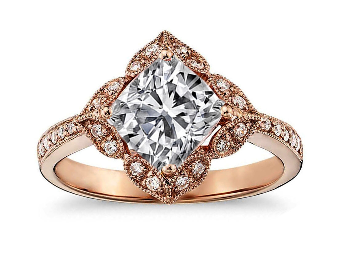 Art Deco Cushion Diamond Rose Gold Engagement Ring