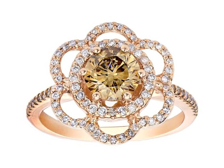 Champagne Floral Diamond Engagement Ring in 14K Rose Gold