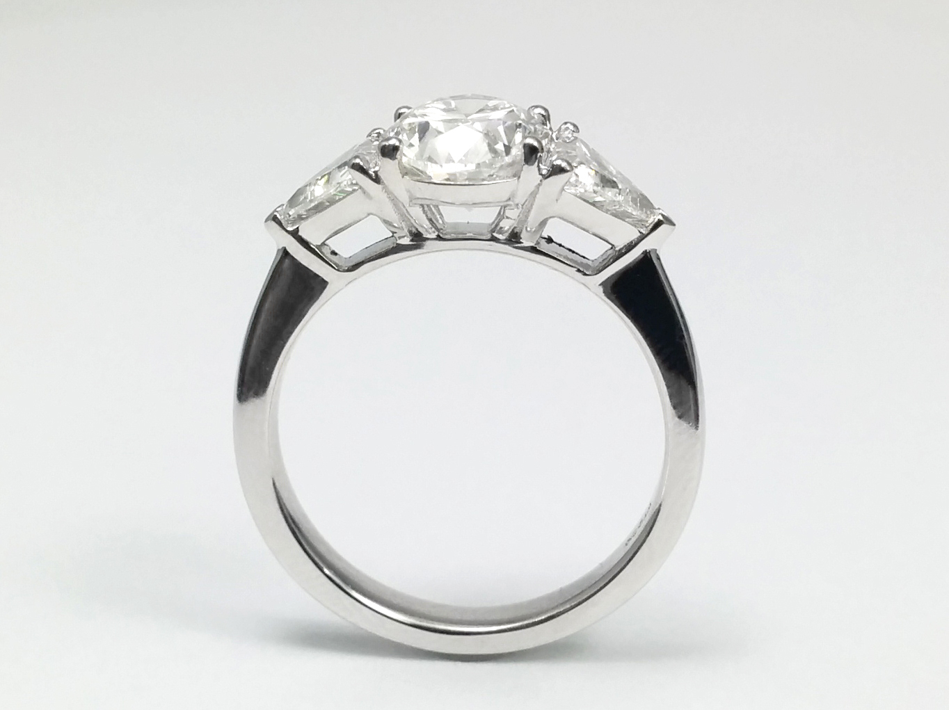 Three Stone Oval & Trillion Diamond Engagement Ring