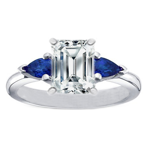 Engagement Ring Emerald Cut Diamond Engagement Ring with Pear Shape Blue Sap