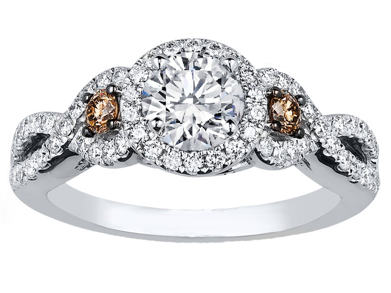 infinity halo chocolate diamonds engagement ring in 14k white gold - Chocolate Diamond Wedding Ring